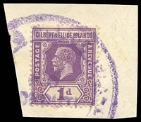 Lot 17213:Nonouti: violet worn triple-circle '[GILBERT ]& ELLICE ISLANDS/P.O./[N]ONOUTI./[COLONY]' on 1d violet KGV.  PO c.1923.
