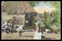 Lot 108:Jamaica: Valentine's coloured PPC of 'A NEGRO HUT, JAMAICA', unused.