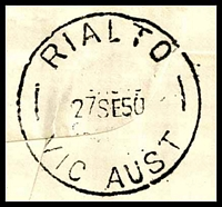 Lot 14478 [3 of 3]:Rialto (1): 'RIALTO/27SE50/VIC AUST' on limited edition FDC for Stamp Centenary (#21 of 250), picture of Thomas Ham, addressed to JRW Purves. [Rated 3P]  Renamed from The Rialto PO c.1902; replaced by King Street PO 19/11/1965.
