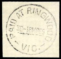 Lot 2667:Ringwood (1): - WWW #510A 'PAID AT RINGWOOD/3D-18MR55/VIC.'. [Rated 3P]  PO 2/8/1875; renamed Ringwood Business Centre BC 8/5/1994.