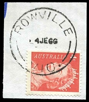 Lot 16305:Rowville (1): - 'ROWVILLE/4JE66/VIC.' WWW #10B on 4c red.  RO 20/12/1905; PO 1/7/1927; closed 19/2/1987.