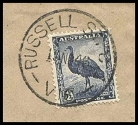 Lot 14232 [3 of 3]:Russell Street: - WWW #40 'RUSSELL ST. C.1/15NO46/VIC' (arcs 4½,4½) on 5½d Emu on cover with blue registration label.  PO 6/11/1924; replaced by 236 Bourke Street PO 2/11/1992.