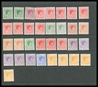 Lot 3686:1938-52 KGVI ½d green x2 (1 VFU), ½d brown-purple, 1d carmine x9, 1d grey x2, 1½d red-brown x4, 2d green, 2d scarlet x3, 2½d violet x3, 3d violet x2, 3d ultramarine, 10d yellow-orange x5, Cat £160. (33)