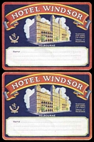 Lot 228:Australia - Victoria: two c.1930 large parcel/baggage labels for the Hotel Windsor, fresh & unused.