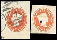 Lot 23267:1890(C.) ½d vermilion cut-outs x2, one with perfect offset on back.