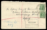 "Lot 6276:Addison Road: - poor Addison Road of 16FE44 on 1½d green QE & 4d Koala on cover with mss ""Addison Rd/149"" in lieu of registration label.  PO 6/11/1923; renamed Marrickville Metro PO 14/1/1993."