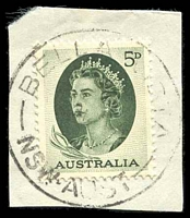 Lot 6214:Bella Vista: - 'BELLA VISTA/?64/NSW-AUST' on 5d green.  PO 30/4/1962; closed 4/4/1966. [Snowy Mountains Scheme]