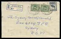 Lot 6537:Beverly Hills: - '[B]EVERLY HILLS/22AU50/[N.S.W-AUST]' (inverted 10s wheel - better backstamp) on 1½d pair & 5½d Emu on cover with blue registration label.  Renamed from Dumbleton PO 1/10/1940.