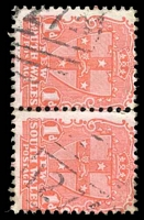 Lot 966:1274: '1274' on 1d Arms pair. [Rated SS]  Allocated to Booroolong R.S.-PO 8/12/1884; renamed Black Mountain PO c.1886; closed 28/9/1985.