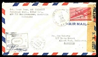 Lot 4778:1943 use of 6c airmail, cancelled with 'U.S. ARMY POSTAGE SERVICE/9