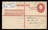 Lot 2426:Cheltenham: - WWW #70A light 'CHELTENHAM/4OC57/VIC.AUST.' on 1/7d Registration Envelope with blue label. [Rated 2R]  PO 1/8/1857; LPO 1/7/1998.