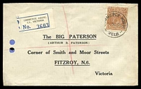 Lot 14911:Commerce House: - 'COMMERCE HOUSE/11NO35/MELB' (WWW #20 - arcs 4,3½) on 5d KGV with blue & black C5 registration label. [Rated 2R]  PO 8/7/1914; replaced by Degraves Street PO 17/11/1956.