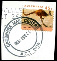 Lot 5640:Canberra Mail Centre: - 37mm double-circle 'CANBERRA MAIL CENTRE/17DEC1998/A.C.T. 2610' (dateline inverted) on 45c.  Renamed from Canberra Mail Exchange MC 5/2/1978.