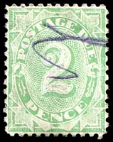 Lot 385:1906-08 Design Completed Wmk Crown/Single Lined A BW #D50 2d emerald P11½-12x11, marginal 'UST' wmk, pencil cancel.