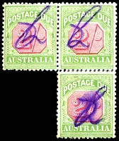 Lot 3456:1909-10 Wmk Crown/Double Lined A Thick Paper BW #D89 2/- pale rose-red & green reconstructed block of 3, Cat $150, mss cancel.