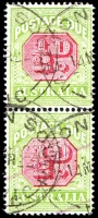 Lot 3808:1913-21 Wmk Crown/Double Lined A Thin Paper Perf 14 BW #D95 ½d carmine & deep yellow-green P14 pair, Cat $20.