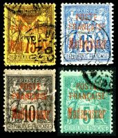 Lot 3495:1895 Overprints on France Peace & Commerce SG #15-17,21 5c, 10c, 15c & 75c, Cat £119, all with minor faults.