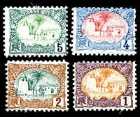 Lot 4067:1902-03 Pictorials - Coloured Centres SG #121-4 1c to 5c, hinge remainders. (4)