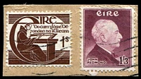 Lot 4031:1957 John Redmond SG #165 1/3d brown-purple & 1/- O'Clery, Cat £15, on piece.
