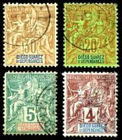 Lot 3907:1892 'DIEGO-SUAREZ ET DEPENDENCES' SG #40,41,44,46 4c (thinned), 5c, 20c & 30c, Cat £60. (4)