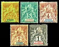 Lot 4302:1894 Peace & Commerce SG #1-4,8 1c to 5c & 20c, Cat £27, hinge remainders and odd addhesion. (5)