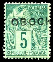 Lot 4284:1892 Straight 'OBOCK' on French Colonies SG #13 5c green on pale green, Cat £18.