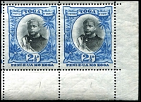 Lot 4640 [2 of 2]:1897 Pictorials Wmk Turtles SG #43 2½d black & blue BRC block of 10 (5x2), Cat £65+v, unit 6/9 with Dash over large 2 & unit 6/10 with Retouched K of KOGA, the hairline from Unit 5/7 to 6/7 is very faint, surface abrasions on 5/10 & 6/9.