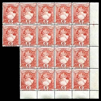 Lot 4489:1942-45 Pictorials Wmk Script/CA SG #79 6d red Line P14 BRC block of 18, Cat £63+, a few light tone spots.