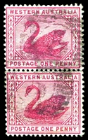 Lot 17749:5: on 1890 1d Swan pair.  Allocated to Gascoyne-PO c.-/1/1882; renamed Carnarvon PO 15/8/1884.