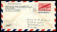 Lot 18886:1944 USA 6c on cover to Erie, Pa, cancelled with 'U.S. ARMY POSTAL SERVICE/A.M./APR/26/1944/A.P.O. 877' duplex, rare.