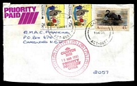 Lot 5212:Curtin (2): red 12hr clock 'CURTIN/2605/19MAR1991/PRIORITY/PAID/OFFICE' on face of cover to Sydney.  PO 11/5/1967.