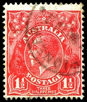 Lot 360:1½d Red Die II - BW #92(1)d [1L20] Vertical cut right of first bloom of left wattles and split frame left of HALF, Cat $20, cancelled with 'PIONEER/?1MY1927/[QUEENSLAND]