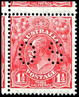 Lot 792 [2 of 2]:1½d Red Die II - BW #91bb block of 4, perf 'OS', Cat $80, lower left unit with Transitory coloured flaw below T of AUST.