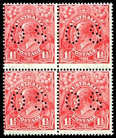 Lot 792 [1 of 2]:1½d Red Die II - BW #91bb block of 4, perf 'OS', Cat $80, lower left unit with Transitory coloured flaw below T of AUST.