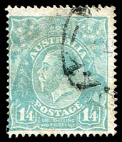 Lot 358:1/4d Greenish Blue - BW #129 Cat $150.
