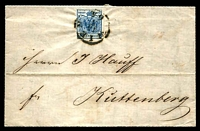 Lot 17713 [1 of 2]:1854 use of 4-margins (2 close) 9k blue (SG #10) on entire from Wien, fine 'KUTTENBERG/16/5/' (Czechoslovakia) arrival.