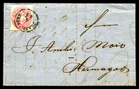 Lot 17715:1863 use of 5k rose Arms P14 on entire (SG #41 Cat £50), attractive gold on red seal.