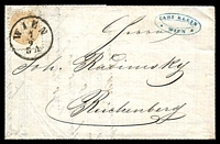 Lot 3496 [1 of 2]:1863-64 Arms Perf 9½ SG #49 15k brown on 1864 entire to Reichenberg, 1858 5k revenue attached to inside.