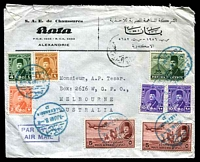 Lot 21710:1948 (Jun 7) use of 67m total postage on commercial air cover from Alexandria to Melbourne, Aust.