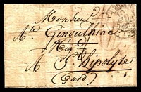 Lot 21299 [1 of 2]:1833 stampless entire cancelled with double-circle '[?]E VIGAN[DE]/10/JUIN/[1833]/(29)' (B2), nice blue double-circle 'ST HIPPOLYTE-DU-FORT