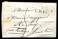 "Lot 3749:Crest: '25/CREST' on outer, addressed to ""... voyageur/Au Pay/post Restante Haute Loire""."