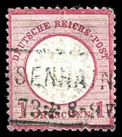 Lot 22524:1872 Large Shield Mi #19 1gr carmine with Coloured flaw in solid border above E of REICH.