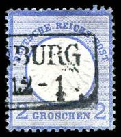 Lot 3600:1872 Small Shield Mi #5 2gr ultramarine, Cat €20.