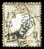 Lot 3512:1872 Small Shield Mi #6 5gr bistre, Cat €120.
