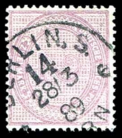 Lot 4077:1875-1900 2 Mark Mi #37d mauve, cancelled on 28 3/89, Cat €80.