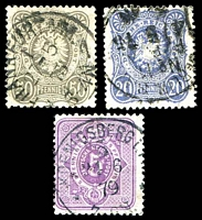 Lot 22529:1875-79 'PFENNIGE' Mi #32,34,36 5pf violet, 20pf ultramarine & 50pf grey, Cat €22.
