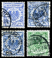 Lot 3513 [2 of 3]:1880-1900 Mi #45-50 3pf brown, 5pf green (4 different shades), 20pf ultramarine (3 different shades), 25pf orange, 50pf brown (2 different shades). (11)