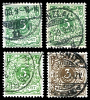 Lot 3513 [3 of 3]:1880-1900 Mi #45-50 3pf brown, 5pf green (4 different shades), 20pf ultramarine (3 different shades), 25pf orange, 50pf brown (2 different shades). (11)