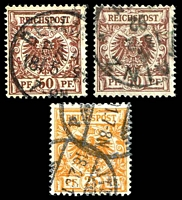 Lot 3513 [1 of 3]:1880-1900 Mi #45-50 3pf brown, 5pf green (4 different shades), 20pf ultramarine (3 different shades), 25pf orange, 50pf brown (2 different shades). (11)
