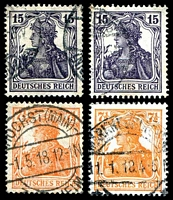 Lot 20054 [2 of 3]:1916-18 Germania Unshaded Mi #99-104 7½pf orange (3 shades), 15pf yellow-brown, 15pf violet, 2pf grey & 75pf (3 shades), range. (10)